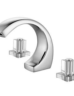 Moderní Široká baterie Keramický ventil Se třemi otvory Dvěma uchy tři otvory for  Pochromovaný , Koupelna Umyvadlová baterie