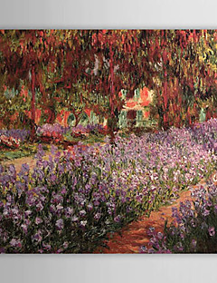 Hand-painted Oil Painting The Garden by Claude Monet with Stretched Frame