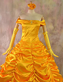 Beauty and the Beast Belle Golden Dress Halloween Costume(2 Pieces)