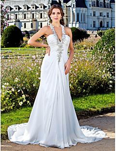 Sütun V-Yaka Uzun Kuyruk Şifon Düğün elbisesi ile Boncuklama Aplik Yan Drape tarafından LAN TING BRIDE®