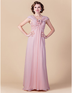 Lanting Sheath/Column Plus Sizes / Petite Mother of the Bride Dress - Blushing Pink Floor-length Sleeveless Chiffon