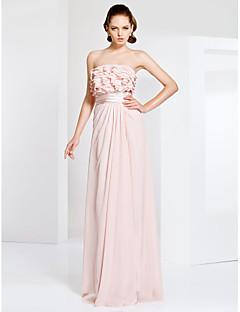 프롬/밀리터리 볼/저녁 정장파티 드레스 - 펄 핑크 시스/컬럼 바닥 길이 스트랩 없음 쉬폰 플러스 사이즈