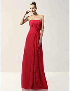 Floor-length Chiffon Bridesmaid Dress Sheath / Column Strapless Plus Size / Petite with Draping / Side Draping / Cascading Ruffles
