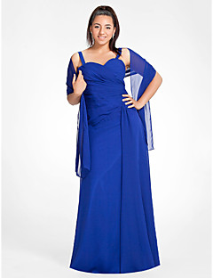 TS Couture® Formal Evening / Military Ball Dress - Elegant Plus Size / Petite Sheath / Column Sweetheart / Straps Floor-length Chiffon with Draping