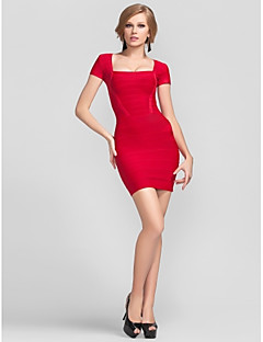 Cocktail Party Dress - Short Sheath / Column Square Short / Mini Rayon with Bandage