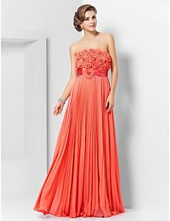 프롬 / 포멀 이브닝 / 밀리터리 볼 드레스 - 우아한 시스 / 칼럼 끈없는 스타일 바닥 길이 쉬폰 와 플라워 / 허리끈/리본 / 주름