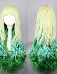Lolita Wigs Sweet Lolita Color Gradient Long Golden / Green Lolita Wig 75 CM Cosplay Wigs Patchwork Wig For Women