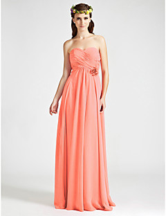 Floor-length Chiffon Bridesmaid Dress A-line Strapless / Sweetheart Plus Size / Petite