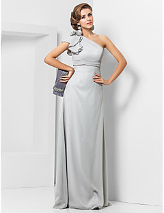 Formal Evening/Military Ball Dress - Silver Plus Sizes Sheath/Column One Shoulder Floor-length Chiffon