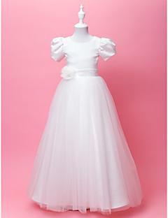 Linea-A / Da principessa Lungo Abito da damigella d'onore bambina - Raso / Tulle Manica corta Con decorazione gioiello conDrappeggio /