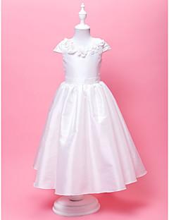 Blumenmädchen Kleid - Taft - A-Linie/Princess-Stil - bodenlang - Kurze Ärmel