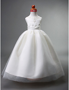 LAN TING BRIDE Ball Gown Floor-length Flower Girl Dress - Satin Tulle Straps with Beading Appliques Draping Ruching