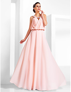 Formal Evening/Prom/Military Ball Dress - Pearl Pink Plus Sizes A-line/Princess Scoop Floor-length Chiffon