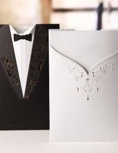 invitation de mariage robe classique et tux sur le côté différent (jeu de 50)