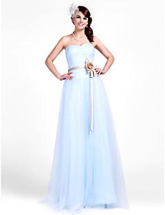 lanting-parole longueur robe de tulle de demoiselle d'honneur - ciel tailles plus bleu / petite une ligne / princesse bustier / chérie
