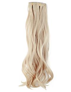 Högkvalitativa syntetiska 45 cm Clip-in Silky vågigt hår Extension 6 färger att välja