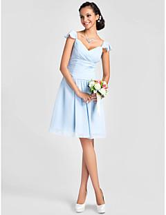 a-line princezna v-krku koleno délka šifón družička šaty s drapákem drapání lan ting bride
