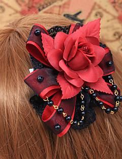 Handmade Red Rose Black Lace Gothic Lolita Headpiece