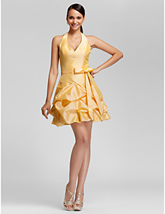 LAN TING BRIDE Short / Mini Halter V-neck Bridesmaid Dress - Sexy Sleeveless Taffeta