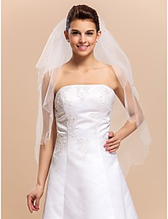 2 Layers Elbow Wedding Bridal Veil Med Scattered Crystals And Beaded Edge