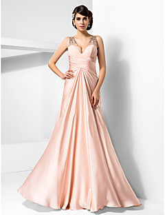 Formal Evening/Prom/Military Ball Dress - Pearl Pink Plus Sizes Sheath/Column V-neck Floor-length Satin Chiffon