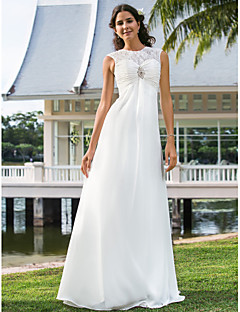 Lan Ting Sheath/Column Plus Sizes Wedding Dress - Ivory Floor-length Jewel Chiffon