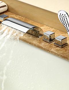 現代風 ローマンバスタブ 滝状吐水タイプ / ワイドspary / ハンドシャワーは含まれている with  セラミックバルブ 二つのハンドル5つの穴 for  クロム , 浴槽用水栓