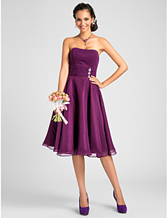 Knee-length Chiffon Bridesmaid Dress - Grape Plus Sizes / Petite A-line / Princess Strapless