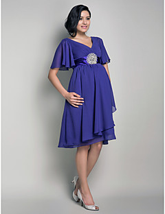 Lanting Knee-length Chiffon Bridesmaid Dress - Regency Maternity A-line / Princess V-neck