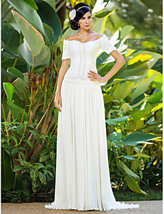 Lanting Sheath/Column Plus Sizes Wedding Dress - Ivory Sweep/Brush Train Off-the-shoulder Chiffon