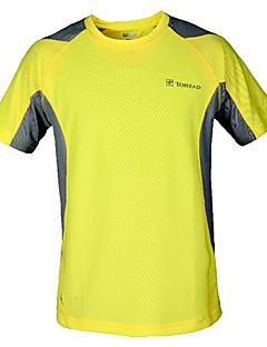 לגברים שרוול קצר ריצה טי שירט צמרות נושם ייבוש מהיר קיץ בגדי ספורט ספורט פנאי 100% פוליאסטר צהוב