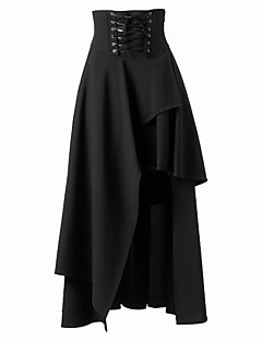 Tea-längd Patchade Black Cotton Gothic Lolita Long Skirt