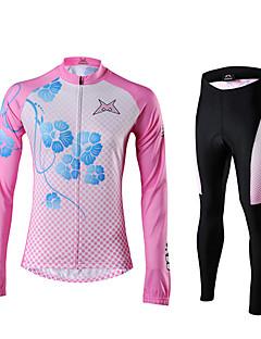 MYSENLAN® חולצה וטייץ לרכיבה לנשים שרוול ארוך אופניים נושם / שמור על חום הגוף / רוכסן עמיד למים / רוכסן קדמי / לבישמחממי זרוע /