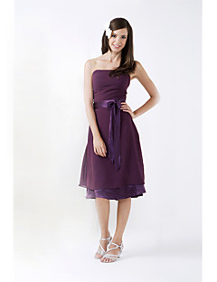Lanting Bride® Knee-length Chiffon / Stretch Satin Bridesmaid Dress - A-line / Princess Strapless Plus Size / Petite withBow(s) / Sash /