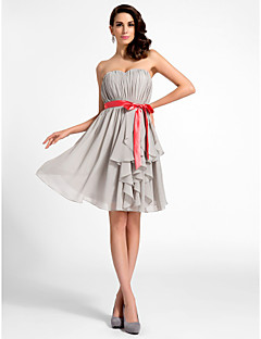 Cocktail Party/Graduation Dress - Silver Plus Sizes A-line/Princess Sweetheart/Strapless Knee-length Chiffon