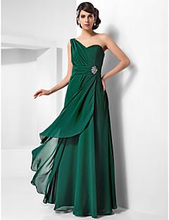 저녁 정장파티/밀리터리 볼 드레스 - 다크 그린 시스/컬럼 바닥 길이 원 숄더 쉬폰 플러스 사이즈