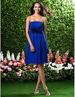 Robe de Demoiselle d'Honneur - Bleu royal Fourreau Sans bretelles Longueur genou Mousseline polyester Grandes tailles