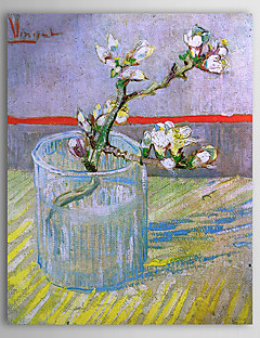 Famous Oil Painting Blossoming Almond Branch in a Glass by Van Gogh