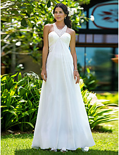 Lanting Sheath/Column Plus Sizes Wedding Dress - Ivory Sweep/Brush Train Jewel Chiffon