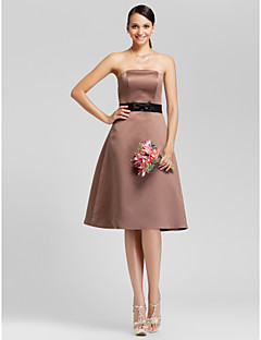 Knee-length Satin Bridesmaid Dress - Brown Plus Sizes A-line/Princess Strapless