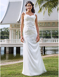 Lanting Bride Sheath/Column Petite / Plus Sizes Wedding Dress-Floor-length V-neck Lace / Tulle