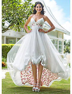 Lanting Wedding Dress A Line Asymmetrical Organza V Neck With Flower Pattern and Sash