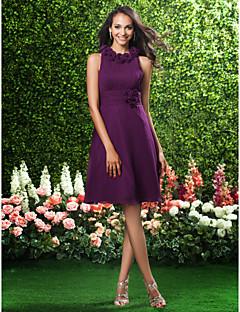 Lanting γόνατο-μήκους σιφόν φόρεμα παράνυμφων - σταφυλιών συν τα μεγέθη / Petite a-line / πριγκίπισσα κόσμημα