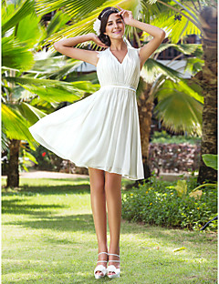 Lanting A-line/Princess Plus Sizes Wedding Dress - Ivory Knee-length V-neck Chiffon