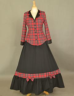 Manga comprida de algodão Andar de comprimento Vestido Preto Escola de Lolita