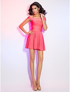 Cocktail Party/Holiday Dress - Watermelon A-line Halter/Off-the-shoulder Short/Mini Rayon