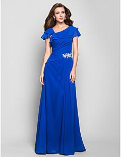 Formeller Abend/Militär Ball Kleid - Meeresblau Chiffon - A-Linie - bodenlang - Carré-Ausschnitt Übergröße