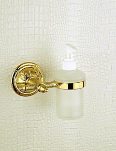 flytende såpe dispenser rack, messing, gylden overflate