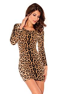 Women's Club Bodycon Dress,Leopard Round Neck Mini Long Sleeve Brown Polyester All Seasons