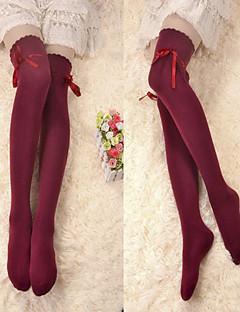 Wine Red Ribbon Cotton Classic Lolita Over Knee Socks